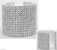 SILVER RHINESTONE CUFF BRACELET Wedding PARTY Brides and Bridesmaids Gifts Women's COSTUME JEWELLERY 1-10 Rows