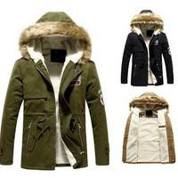 Winter Casual Canada Mens fur collar coat army green outwear coats military man jackets men winter jacket men coat Parka Coats