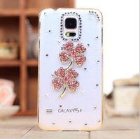 Crystal rhinestones bling cover For Samsung galaxy S5 I9600 diamond lucky flowers skin back case
