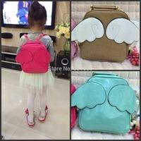 2014 New arrival student school bag lovely angel wings women's backpack fashion color block children gift