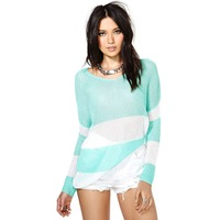 Free Shipping 2014 New Autumn 141M006 Mint Green Striped Color Block Brief Loose Long Sleeve Plus Size Women Pullovers Sweater