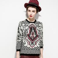 2014 british style clip yarn o-neck sweater women