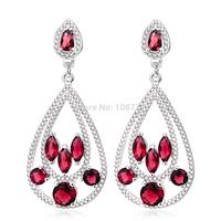 100% Genuine 925 Sterling Silver Earrings Waterdrop 53*23.4mm With Colorful AAA Zircons TZ0108-E/TZ0109-E/TZ0110-E Free shipping