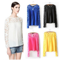 2015 new women's round neck lace shirt fashion chiffon blouse shirt long-sleeved shirt OL office shirt S-XL CM10