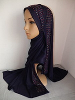 m2035 165cm*55ccm with high quality  hot drill cotton blend single jersey fabric muslim long scarf solid color islamic hijab