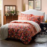 5-pieces 3d queen king size comforter set/quilt/duvet set bed in a bag orange bedding floral duvet cover teen bedding