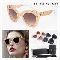 high quality Metal hollow Flower Sunglasses Cat Eye Glasses Vintage Fashion Summer Cool Sunglasses Women Italy Brand Designer