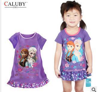 Frozen 2014 selling children's cartoon Home Furnishing clothes girls Nightgown summer dress(China (Mainland))
