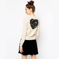 Free Shipping 2014 New Autumn 141M014 Ladies Embroidery Lace Heart Thin Wool Single Breasted Plus Size Cardigans Women Sweaters
