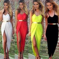 Sexy Slit Summer Dress For Women Beach Dress Sleeveless Strap Casual Dress O-neck Long Maxi Dress White,Black,Red,Yellow