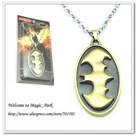 Free shipping 2Colors Unisex Metal Stainless Steel Punk Hiphop Movie Comics Batman Pendant Carving Chain Necklace WD08