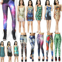 Women HOT Sexy Space Galaxy Dress Tops Stretch Bodycon Mini Dresses Skinny Legging Pants Universe Printed Jeggings Free Shipping