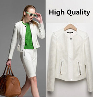 New Women's Woven Short Jacket Autumn White Woven Patchwork PU Short Jacket Slim Full Sleeve Woven Short Coat  High Quality