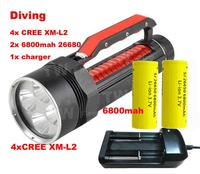 Diving Flashlight Searchlight 4xCREE XML L2 8000lm Magnetic Switch Flashlight  Underwater flashlight+2x6800mah 26650+charger