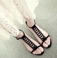 Black Women Sandals 2014 Gladiator T-Straps Flats Women's Summer Shoes Flats Free Shipping 0789