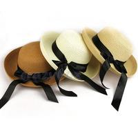 Women's Lady's Brim Bow Bowknot Summer Beach Sun Folding Hat Straw Wide Brim Floppy Cap With Silk Ribbon Fast Free Shipping