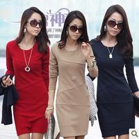 2014 autumn and winter women's one-piece dress basic slim ol plus size autumn long-sleeve one-piece dress female