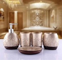 New arrival Fashion Europe Style  Resin Five-piece Bathroom Set Bathroom Accessories Suit Best Birthday Married Gift