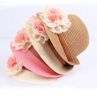 Korean Style Kids Girls Baby Flower Brim Summer Beach Sun Straw Hat Solid Cap for Children Child Free Fast Shipping