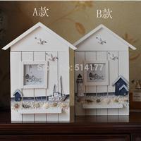 handmade Marine style Wooden Key Case Imitated Old Lighthouse Beach Mediterranean Hanging Pendant Belt Hook Box