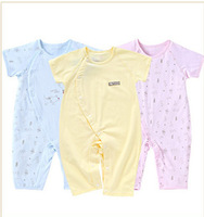 summer thin breathable 100% cotton short-sleeve newborn baby girls or boys clothing