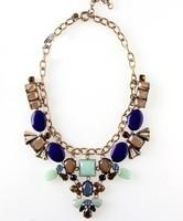Retro fashion resin Crystal women chunky necklace  women fashion necklace free shipping