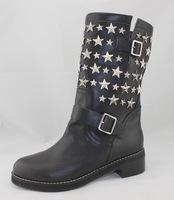 2014 new fashion autumn genuine leather women boots, black color , star  P20