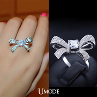 UMODE Unique Design Ladies Bow Tie Ring New Issued Bowknot Noble Ring for Girl with Top Quality Swiss Cubic Zircon Stone UR0108