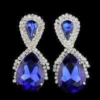 New Arrival Women Fashion Classic Style Rhinestone Earring Crystal Alloy Drop Earrings DDE053 Bridal Wedding Jewelry Accessories