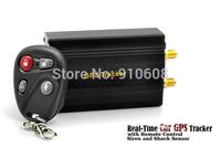 Free shipping TK103B Car GPS tracker+ Remote Control Quadband Car Alarm Free Spanish Portuguese PC GPS tracking system