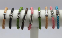 Stainless steel knitted genuine leather bracelet fashion male \female all-match bracelets for lovers
