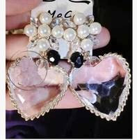 2014 New Fashion women big  gem crystal pearl  Hearts   earrings vintage statement earrings flower crystal women brand earring