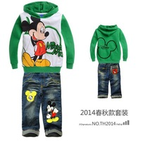 autumn 2014 boys sets mickey mouse minnie mouse clothing children hoodies +jeans baby boy clothing sets boys tracksuits