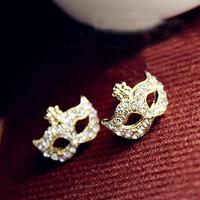 CME013 Bohemian Magic Mask Flower Earrings Full Rhinestones Stud Stylish Earrings
