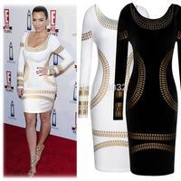long sleeve knee-length print dress plus size women pencil dress new in 2014 fashion casual dress