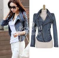 2014 Autumn & Winter Denim Jacket Women Coat Warm Casual Overcoat Jean Jacket Women Clothes Cool Zip Gradient Winter Tops