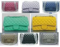 Women Sheepskin Handbag Clutches Genuine Leather Small Messenger Bags Ladies Diamond - Shaped Double Flip Chain Shoulder Strap