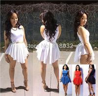 2014 New Summer White Sexy Women Bandage Mini Sun Dress, Sleeveless O-Neck Bodycon Club Party Casual Short Dresses C132 XXL
