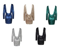 Free shIpping .Fashion major Halter back sequin dress long sleeve backless bodycon party dress 301