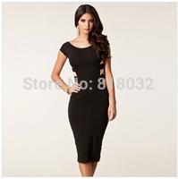 S M L XL XXL Plus Size 2014 Spring New Fashion Women Sexy Knee Length Black Bodycon Bandage Dress Celebrity Casual Dress