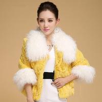 New 2014 Women's Mongolia Sheep Fur Collar Rex Rabbit Fur Three Quarter Sleeve Fur Coat A012C , Free Shipping