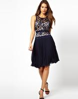 Women's Sleeveless lace embroidery  chiffon backless pleated dress high quality free shipping