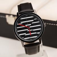 New Retail Men Women Unisex Leather Strap Watches,Black And White Stripes Fashion Style Quartz Watches,Free Shipping