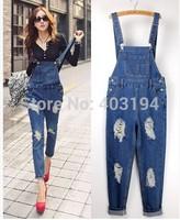 Fashion Women Jeans Cotton hole Loose Overalls pants denim bib pants female spaghetti strap jumpsuit Jeans woman SY91 Blue
