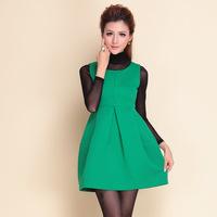 2014 autumn winter desigual women stylish fashion HIGH STREET rose red dress+ long sleeve black bottoming shirt B1082
