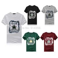 Free shipping 2014 new arrive summer brand contton men t-shirts t shirt for star printed fashion short sleeve t-shirt