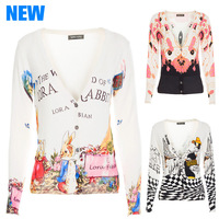 2014 Autumn New Fashion Brand Women Sweater Cardigans Thin Print Short Cotton Knit Cardigans V-Neck Thin Woolen Coat