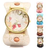 Fashion GENEVA Vintage Orchid Watches Casual  Flower Watch Women Leather Quartz Dress Watches Five Colors For Choose