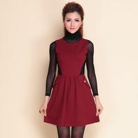 2014 autumn winter desigual women stylish fashion HIGH STREET red and black dress+long sleeve black bottoming shirt B1083