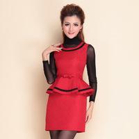 2014 autumn winter desigual women stylish fashion HIGH STREET red fashion dress+long sleeve black bottoming shirt B1084